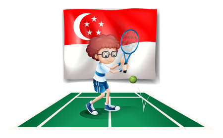 Illustration of the flag of Singapore at the back of the tennis player on a white background
