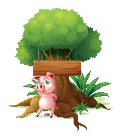 Illustration of a pig standing in front of an empty wooden signboard on a white background Vector