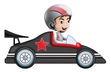 Illustration of a young boy riding in his racing car on a white back ground Vector