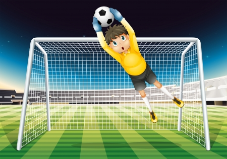 teammates: Illustration of a boy catching the soccer ball