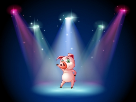 stage performer: Illustration of a stage with a pig at the center