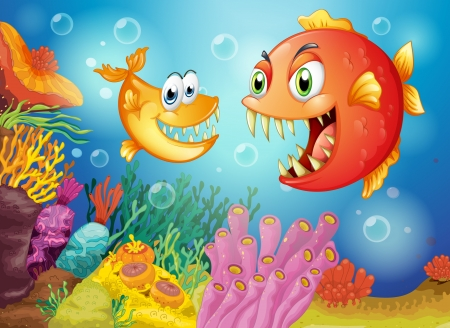 Illustration of the two fishes with big fangs under the sea Vector