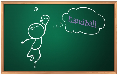 Illustration of a blackboard with a drawing of a boy playing handball on a white background Vector
