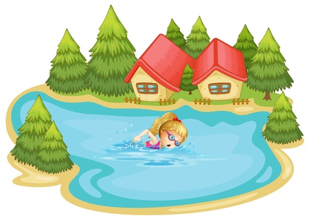 Illustration of a girl swimming near the pine trees on a white background Vector