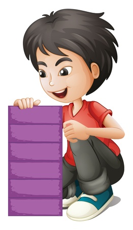 Illustration of a boy holding an empty violet board on a white background Stock Vector - 19645234