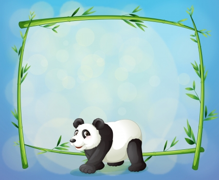 Illustration of a panda with a framed bamboo tree at the back Vector