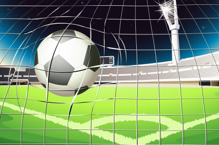 outdoor seating: Illustration of a net with a soccer ball