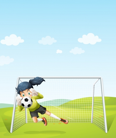 footwork: Illustration of a girl catching the soccer ball under the net