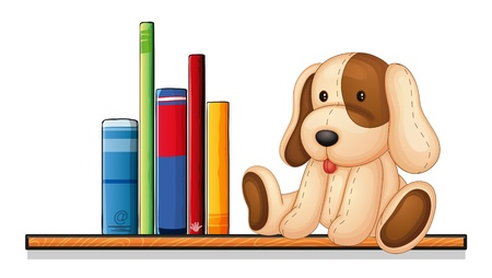 stuffed animals: Illustration of a shelf with books and a toy on a white background