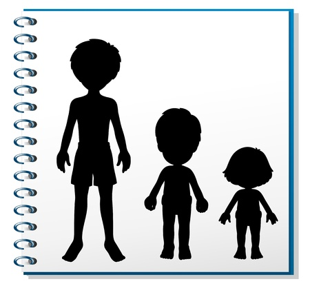black and white image: Illustration of a notebook with an image of three humans on a white background Illustration