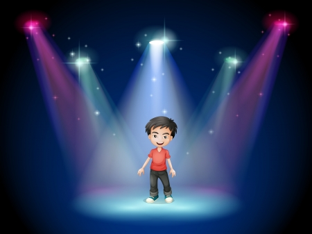 centerstage: Illustration of a young actor at the center of the stage