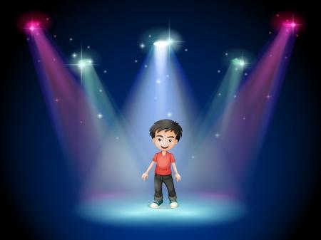 niños actuando: Ilustración de un joven actor en el centro de la escena