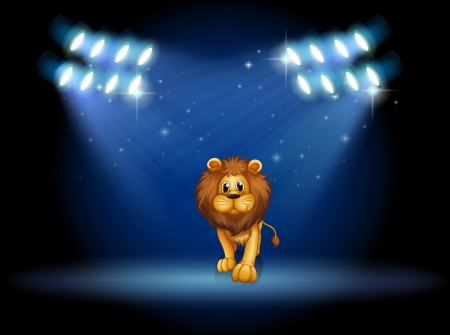 stageplay: Illustration of a lion at the center of the stage with spotlights