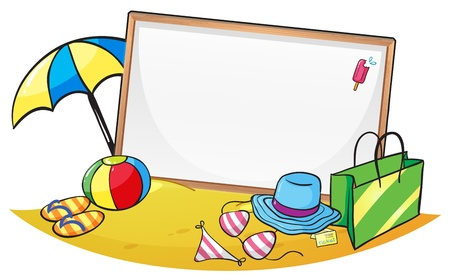 Illustration of an empty blank board surrounded by things for summer on a white background