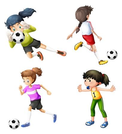 白い背景の上にサッカーをして 4 人の女の子のイラスト
