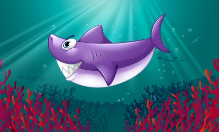 Illustration of a smiling violet shark under the sea Vector