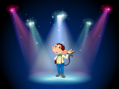 Illustration of a monkey standing at the stage