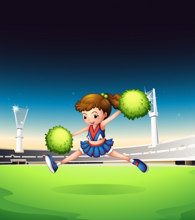cheer leader: Illustration of a field with a young girl performing