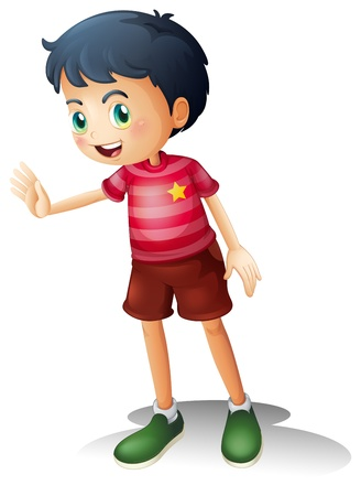 Illustration of a boy with a stripe shirt on a white background Stock Vector - 19645321