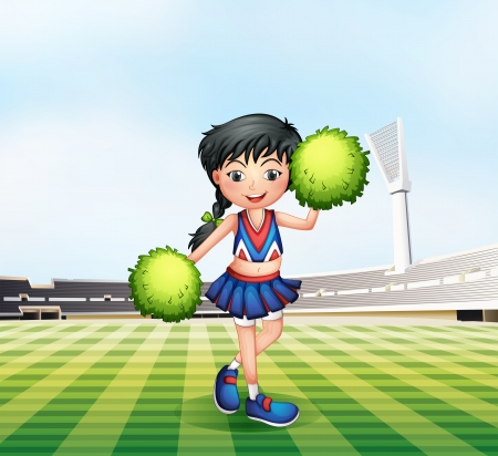 outdoor seating: Illustration of a cheerleader in the soccer field