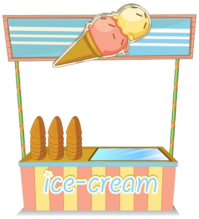 Illustration of a wooden icecream stand on a white background Illustration