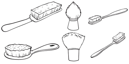 hair brush: Illustration of the silhouettes of the different brushes on a white background