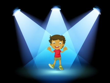 centerstage: Illustration of a little kid at the center of the stage