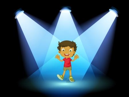 Ilustracja z małym dzieckiem w centrum sceny