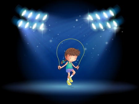 stageplay: Illustration of a girl playing jumping rope under the spotlights Illustration