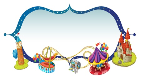 amusement park rides: Illustration of a unique border design with castle and rides on a white background Illustration
