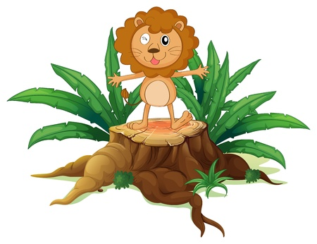 Illustration of a stump with a little lion on a white background Vector