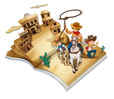 storyteller: Illustration of a book with an image of three cowboys on a white background