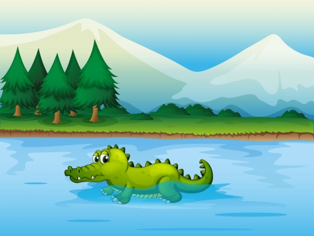 Illustration of an alligator in the river  Vector