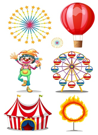 amusement park rides: Illustration of a carnival with clown on a white background
