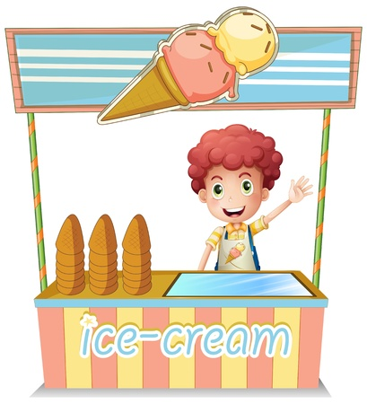 Illustration of a boy selling ice cream on a white background Illustration