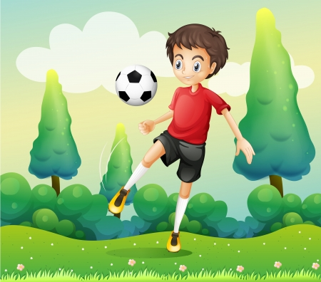 footwork: Illustration of a boy with a red shirt kicking a soccer ball