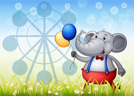 carnival ride: Illustration of an elephant with balloons in front of the ferris wheel Illustration