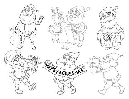 Illustration of the silhouettes of Santa giving gifts on a white background Vector