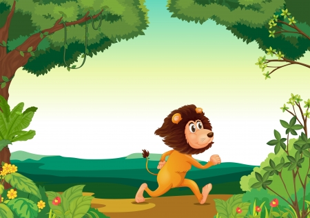 Illustration of a lion running in the forest Stock Vector - 19645395
