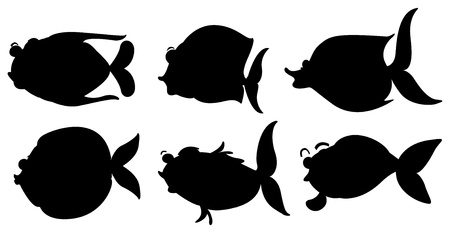 Illustration of the silhouettes of the different sea creatures on a white background Vector