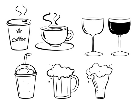 melaware: Illustration of the different kinds of drinks on a white background