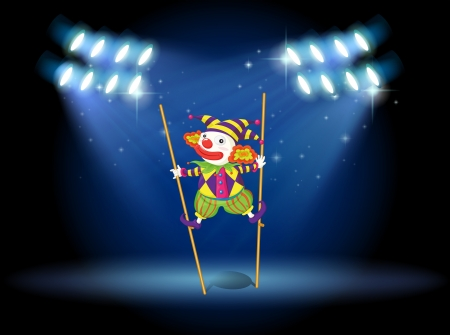limelight: Illustration of a clown doing a trick at the stage Illustration