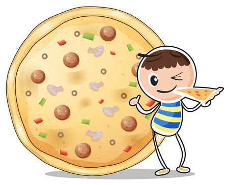 Illustration of a boy beside a big pizza on a white background Vector
