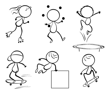 Illustration of the silhouettes of the different activities on a white background Vector