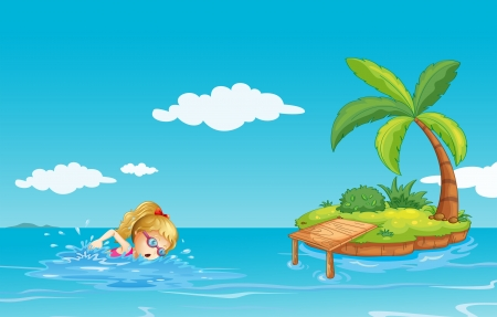 swimming goggles: Illustration of a girl swimming near an island with a coconut tree
