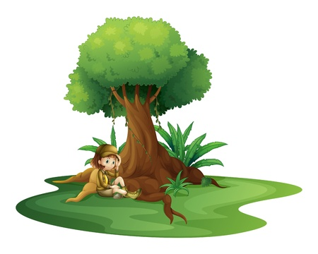 Illustration of a young girl relaxing under a big tree on a white backgroud