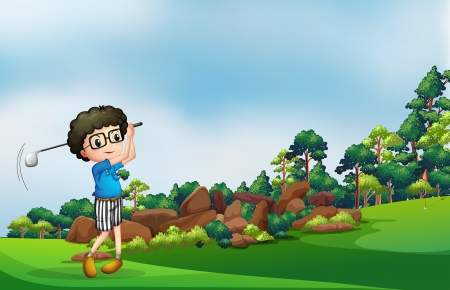 Illustration of a boy playing golf at the forest Vector