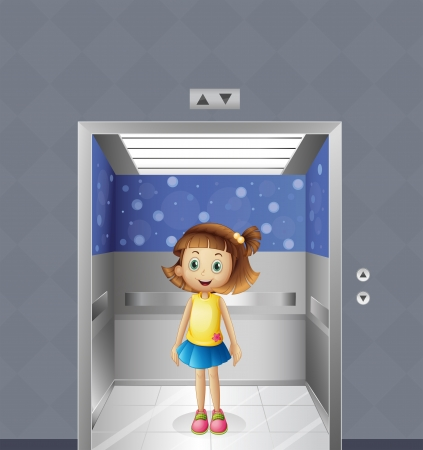 people in elevator: Illustration of a pretty young girl inside the elevator