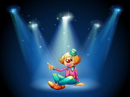 centerstage: Illustration of a stage with a female clown sitting at the center