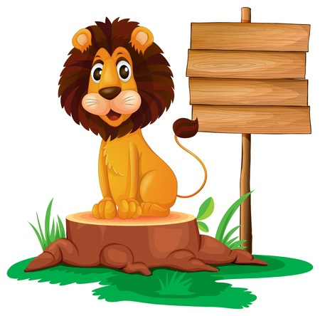 timber cutting: Illusration of a lion sitting on a stump beside a wooden signboard on a white background Illustration